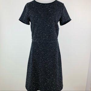 LOFT Black Textured Stretch Tweed Dress Sz 6